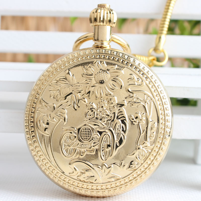 Golden copper Retro Wunflower Self-driving Spring Retro Fashion Machinery Pocket Watch Men Women Roman Numeral Fob Watch 3JX249 men mechanical pocket watch roman classic fob watches flower design retro vintage gold ipg plating copper brass case snake chain