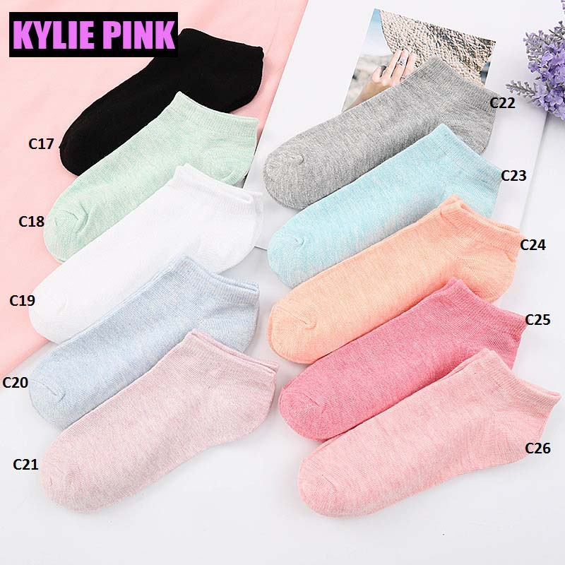 KYLIE PINK 10 Pairs/Lot Socks Cotton Short Socks for women Girls 10 Colors Harajuku Girls Letter Ankle Sock Calcetines Sox hockey sock