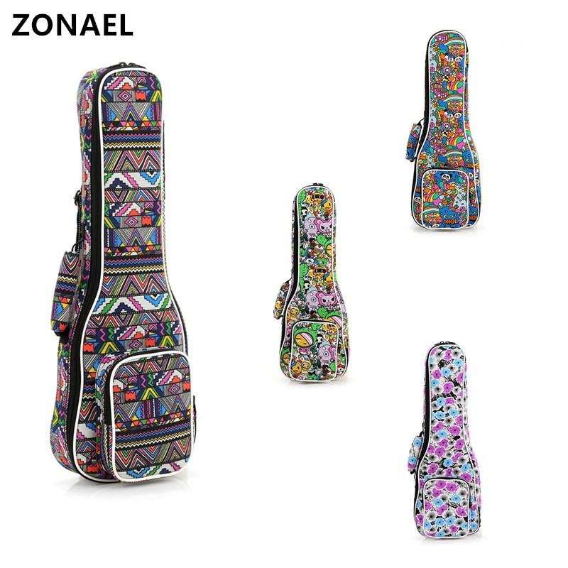 ZONAEL 21 23 26 Inch Double Strap Hand Folk Canvas Ukulele Carry Bag Cotton Padded Case For Ukulele Guitar Parts & Accessories purple color carry bag for 7 8 hand held crystal singing bowls with heavy duty canvas carrier