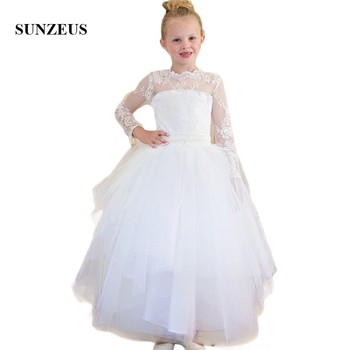 Illusion Lace O-Neck A-Line Flower Girls Dresses Three Quarter Sleeve Charming Girls First Communion Dresses Party Dresses