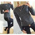 2017Women Fashion New Round Collar camisa dot chiffon wave point long-sleeved shirt clothes