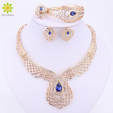 Gold Color Women Jewelry Sets Fashion Blue Crystal&Rhinestone Wedding Bridal Nigerian African Party Necklace Earings Sets