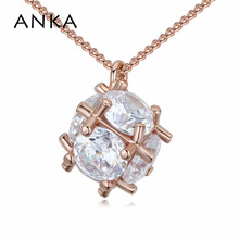 ANKA simple personalized round zircon pendant necklace luxury rose gold color zirconia frame shape necklace women jewelry 125347 anka luxury round sun shape pendant necklace fashion rose gold color luck fashion necklace zircon cz jewelry for women 125675