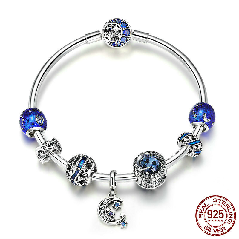 Authentic 925 Sterling Silver Sparkling Star and Moon Blue Enamel Bracelets & Bangles for Women Silver Jewelry SCB801 BAMOERAuthentic 925 Sterling Silver Sparkling Star and Moon Blue Enamel Bracelets & Bangles for Women Silver Jewelry SCB801 BAMOER