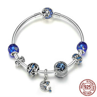 Authentic 925 Sterling Silver Sparkling Star and Moon Blue Enamel Bracelets & Bangles for Women Silver Jewelry SCB801 BAMOER