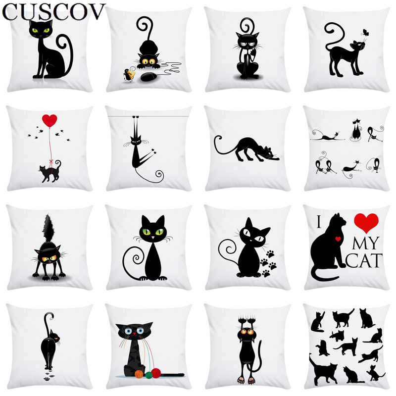 CUSCOV Ew Cartoon Black Cat Super Soft Polyester Home Pillowcase Decoration Living Room Sofa Pillowcase Cushion Cover