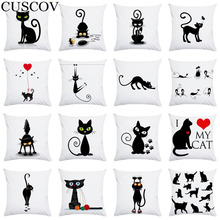 CUSCOV ew cartoon black cat super soft polyester home pillowcase decoration living room sofa cushion cover