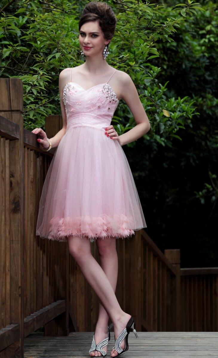 2015 Spring Bridesmaid Dress Spaghetti Straps Short Dress Chiffon ...