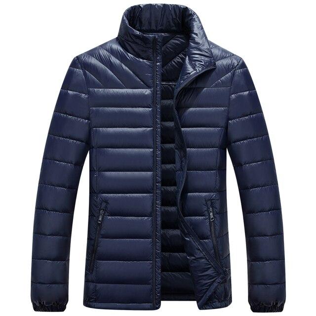 Ultraleve Mens Pato Branco Down Jacket Gola Moda Outono Inverno Outwear Pato Para Baixo Casaco Ajuste Regular Fina Para Baixo Parkas