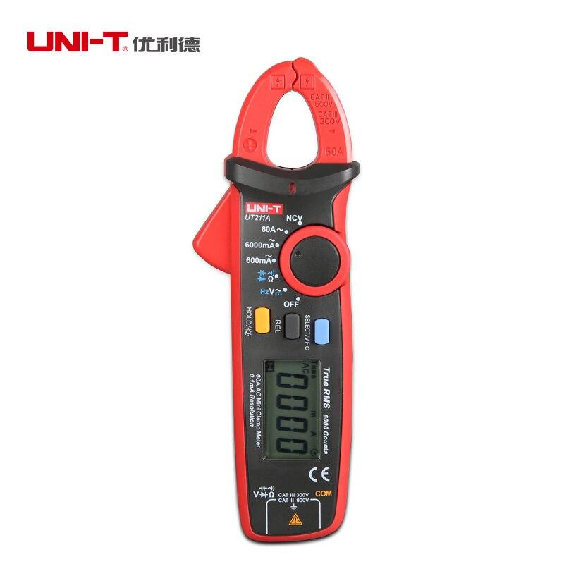 UNI T UT211A/UT211B Амперметр AC/DC 60A мини Цифровые токоизмерительные клещи диод Ом True RMS Амперметр VFC/NCV/сопротивление/емкость тест - 3