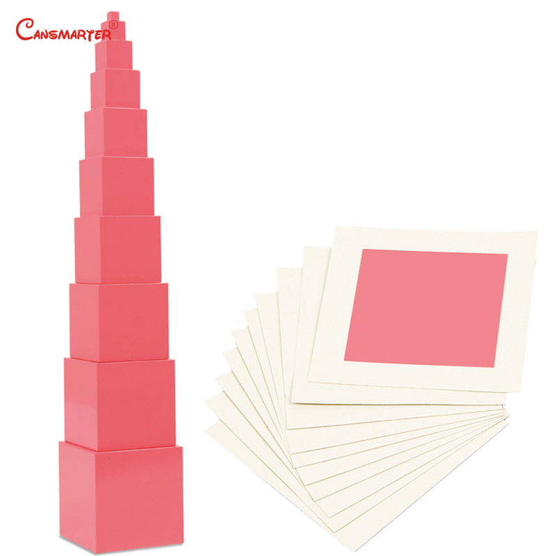 Math Toys Matte Pink Towers Blocks Cubes for Children 3-6 Years Preschool Teaching Aids Kids Games Toy Sensory Training SE003-3