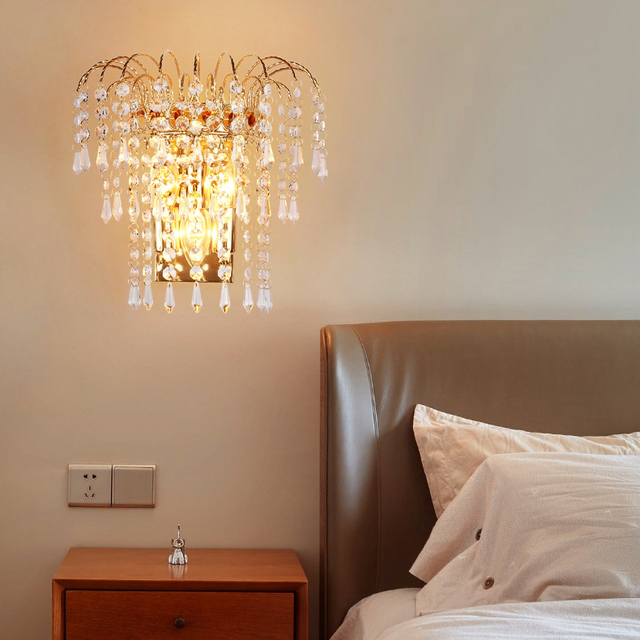 Indoor 10w 14w Led Wall Sconce Light Fixture K9 Crystal Bedside Lamp Bead Curtains E14