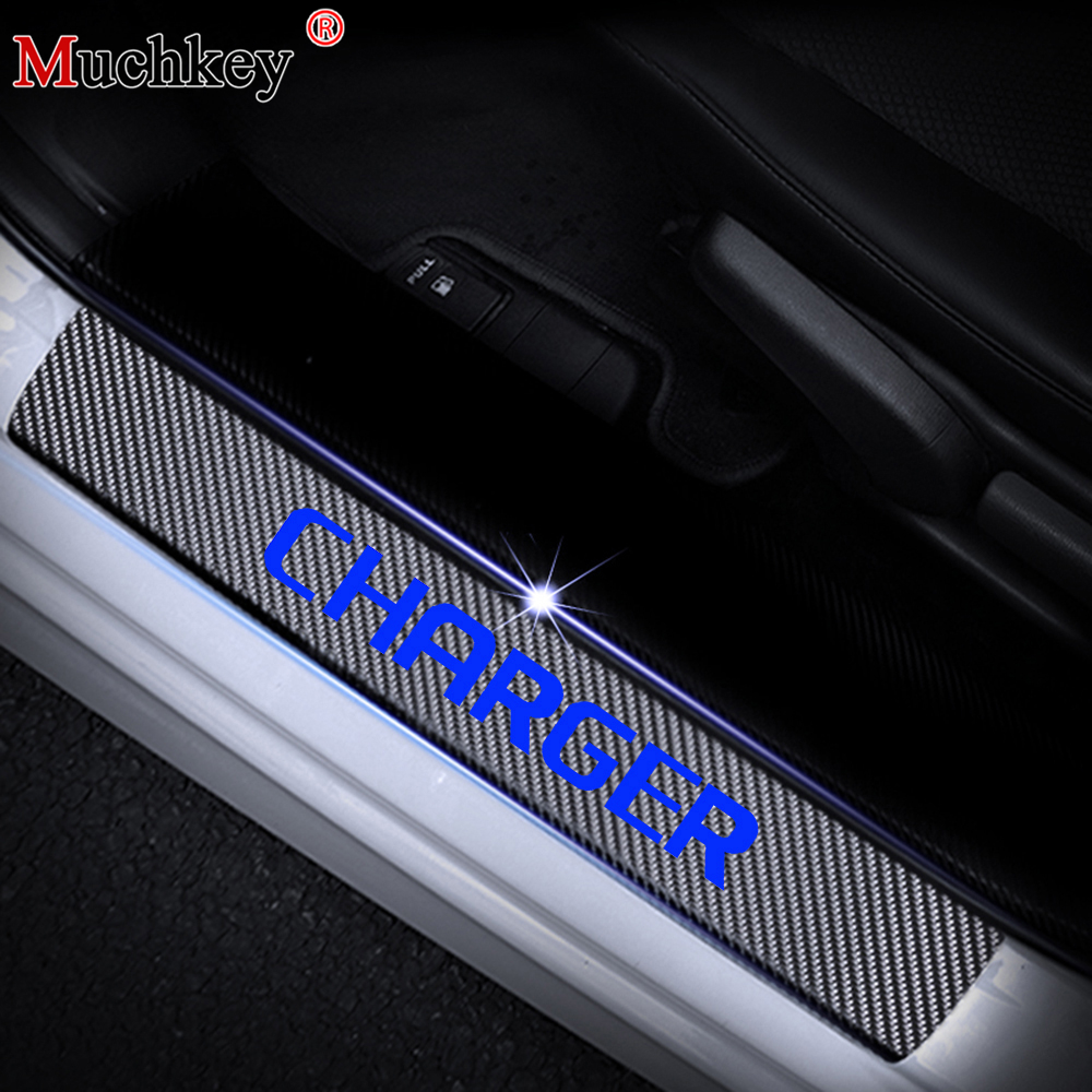 4D Carbon Fiber For Dodge Charger Door Sill Plate Car Door Sill Sticker Door Sill Decoration Scuff Plate Vinyl Sticker 4Pcs