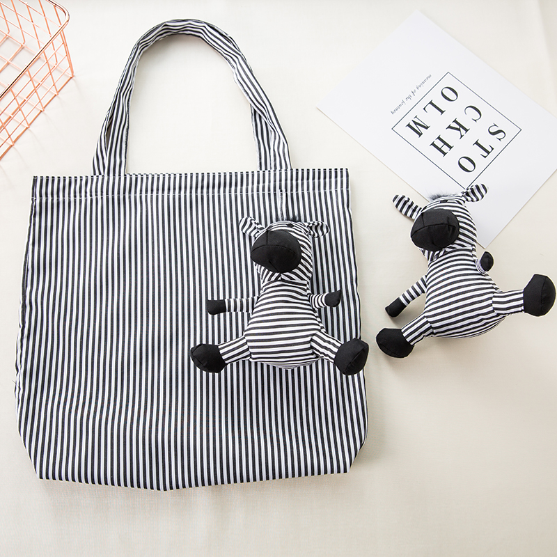Cotton And Cotton Filling Zebra Shopping Bag Eco Friendly Ladies Gift Foldable Reusable Tote Bag Portable Shoulder Bag