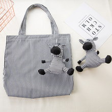 Cotton and filling Zebra Shopping Bag Eco Friendly Ladies Gift Foldable Reusable Tote Portable Shoulder