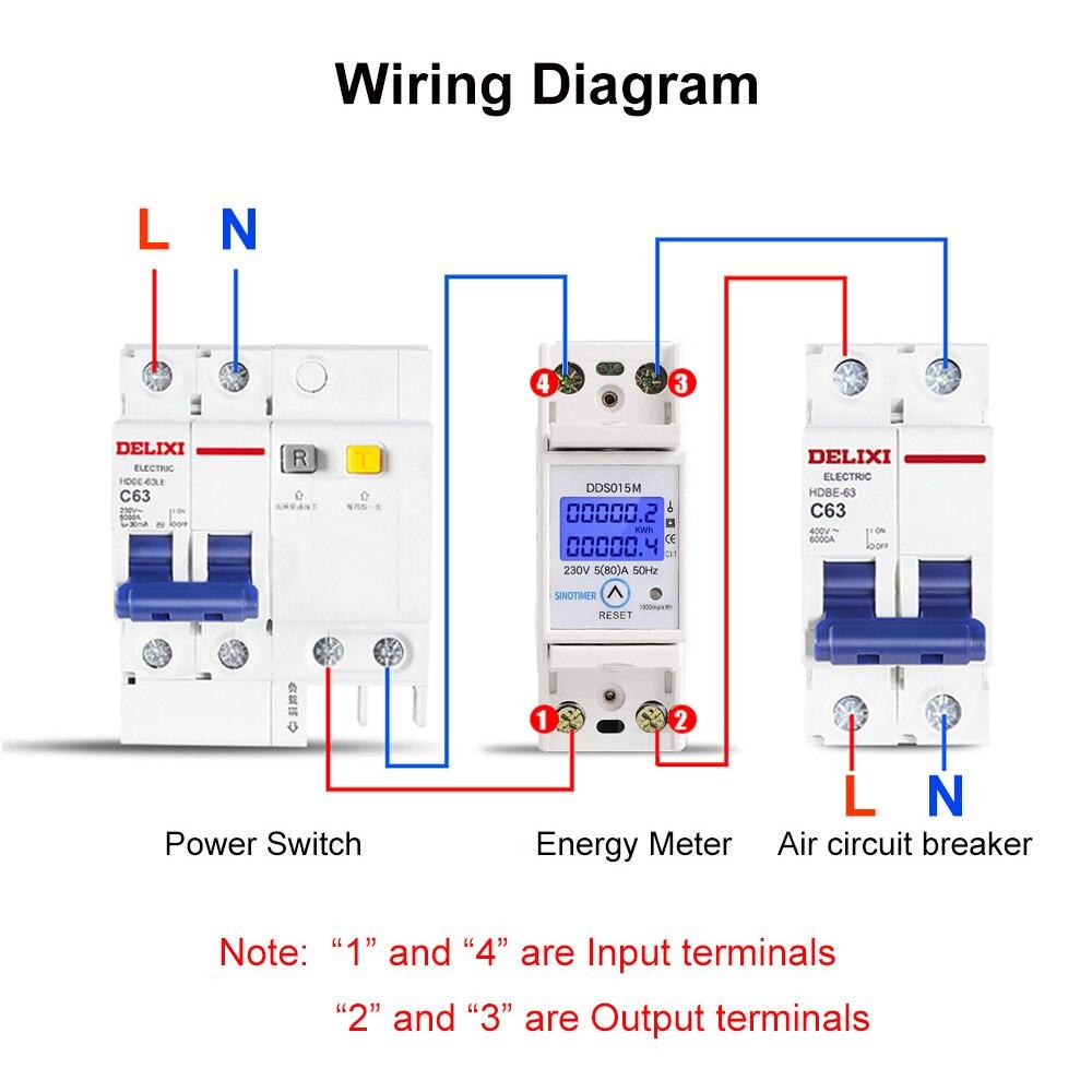 Din-рейка 5-80A 230V AC 50Hz однофазный ваттметр Потребляемая мощность ватт счетчик электроэнергии кВт-ч с функцией сброса