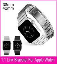 2016 Nueva Bienes 1:1 Origianl Negro Brazalete de Eslabones de Plata Banda para apple watch correa de acero 42mm eliminar enlaces sin ningún tipo de herramientas