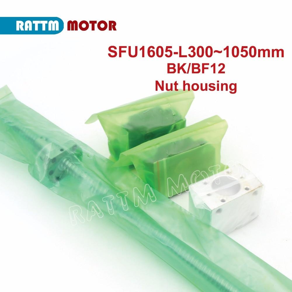DE Navio! SFU1605 Ballscrew-L300mm/500mm/600mm/800mm/1050mm Final usinado & BK/BF12 suporte & Nut habitação CNC ruter