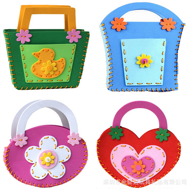 Children handmade bags EVA foam puzzles DIY crafts for kids learning and educational toys W024