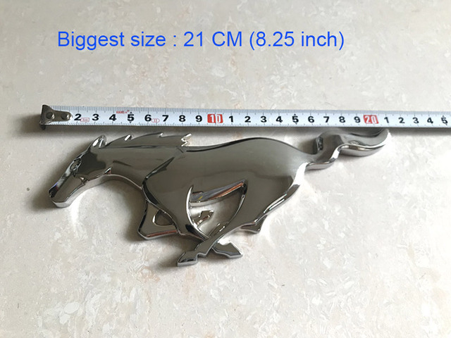 Suko 21cm Gest Size Metal Mustang Horse Reing Logo Front Grille Badge 3m Glue Sticker Running Decal For Ford Shelby