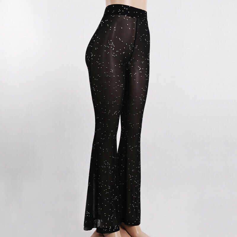 Женские сетчатые Прозрачные Пляжные широкие брюки кружевные прозрачные купальники длинные брюки с завышенной талией, купальный костюм черного цвета