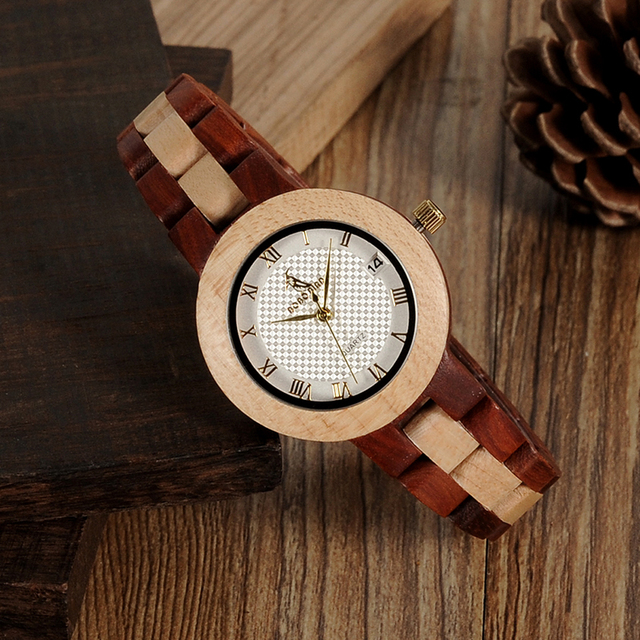 BOBO BIRD M19 Rose Sandal Wood Watch Women Minimal Dress Wristwatch Female Watches Top Brand Luxury 2