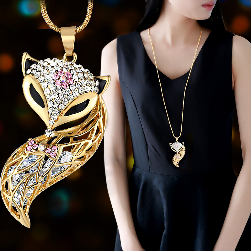 Detail Feedback Questions about DuoTang New Fox Pendant Necklace Trendy  Animal Long Snake Chain Rhinestone Necklaces For Women Jewelry Christmas  Gift M0022 ... d752142b72dd