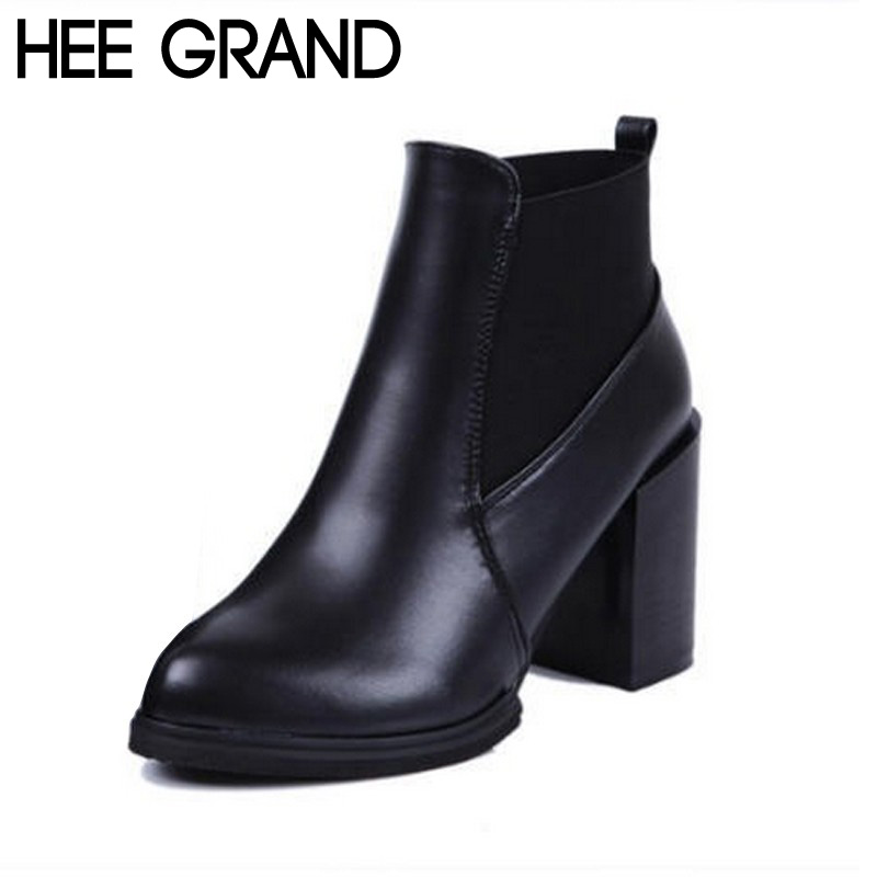 HEE GRAND Autumn Winter Women Boots Fashion Slip on Thick Heel Artificial Leather Women Ankle Riding Boots Plus Size 40 XWX3882