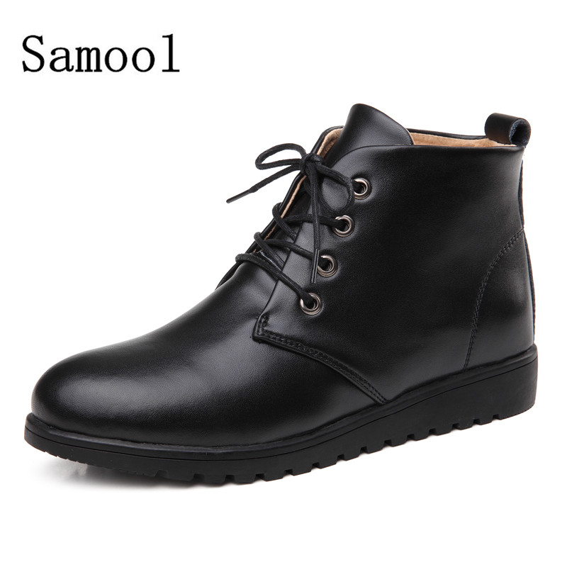 SAMOOL  Female High Tops Casual Shoes Fashion Women Shoes Lace Up Lady Shoes Women's Solid Leather boots Round Toe Flats Shoes