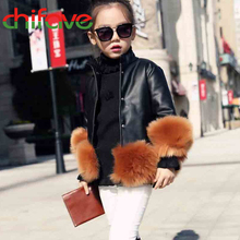 2015 New Autumn Winter Turtleneck Girls Parka Cotton Padded Fashion Jacket Faux Leather Fur Decoration Girls Clothing 3 Colors