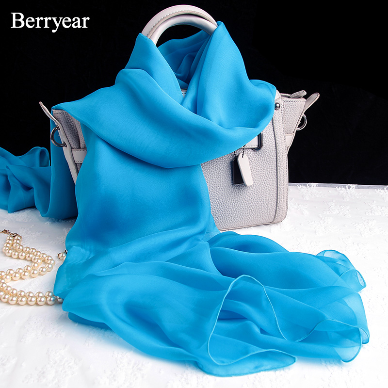 Berryear 2018 bufanda de seda sólida del verano mujeres bufandas - Accesorios para la ropa