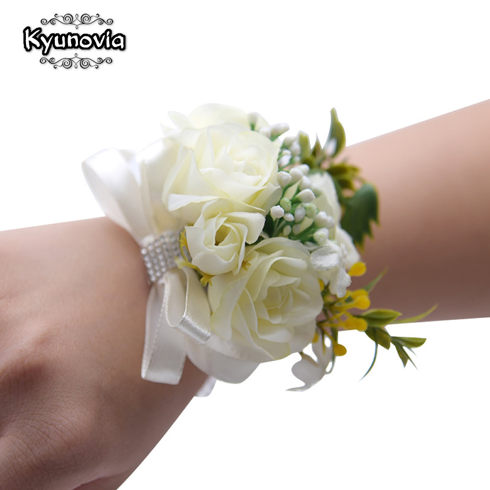 Kyunovia Blush Flower Wrist Corsage Ivory Silk Wedding Bride Wrist Flower  Bridesmaid Bracelet Hand Flowers Wrist Corsage D35 fake rose flowers