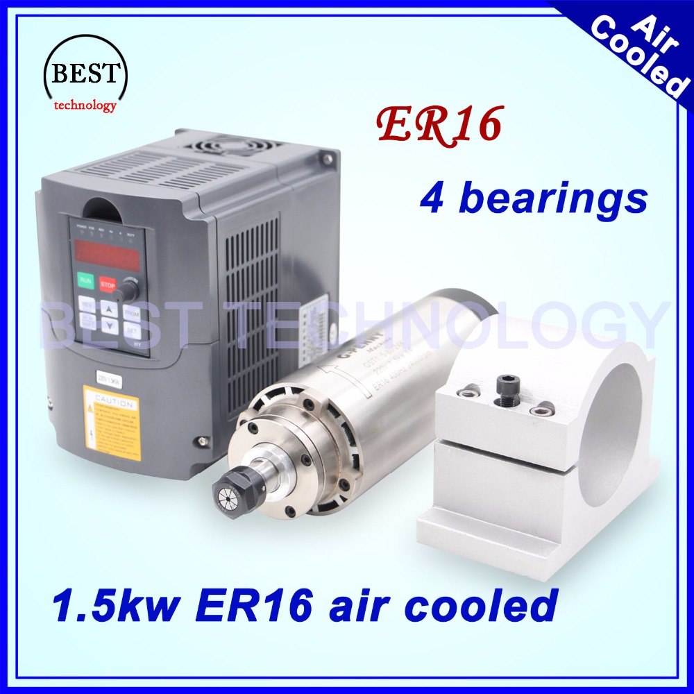 1.5kw ER16 air cooled spindle motor 4 bearings air cooling 1.5 kw CNC milling spindle & 220v 1.5kw inverter VFD & 80mm bracket dc48v 400w 12000rpm brushless spindle motor air cooled 529mn dia 55mm er11 3 175mm for cnc carving milling