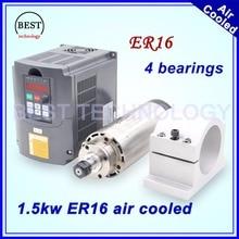 ER16 1.5kw chłodzony powietrzem wrzeciona chłodzenie powietrzem silnika 4 łożyska 1.5 kw wrzeciona frezarki CNC & 220 v falownik 1,5kw VFD i 80mm wspornik