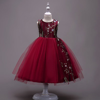 New Fashion Flower Girls Dresses Children Sleeveless Embroidered Princess Graduation Ball Gown Fashion Kids Clothing
