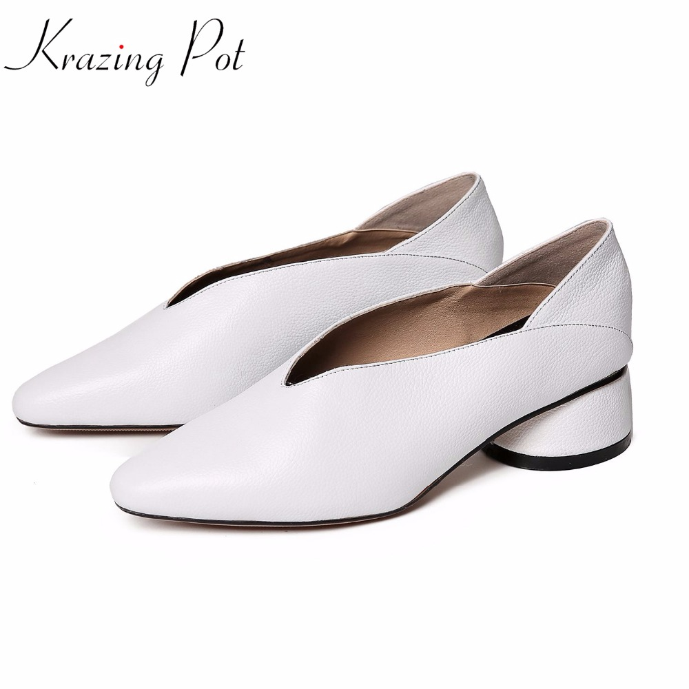 Krazing Pot 2018 genuine leather European designer brand shoes hollow pointed toe thick med heels British simple chool pumps L70 krazing pot 2018 cow leather simple design breathable high heels hollow women pumps round toe brown white color brand shoes l92