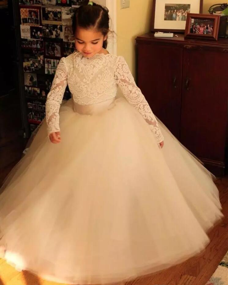2019 Ball Gown Flower Girls Dresses With Long Sleeves Lace with Sash Girls First Communion Dress Christmas Gown Size 2-16Y girls formal dress lace three quarter ball gown backless bow sash long flower girls communion 2016 pageant dress 1 14 years old