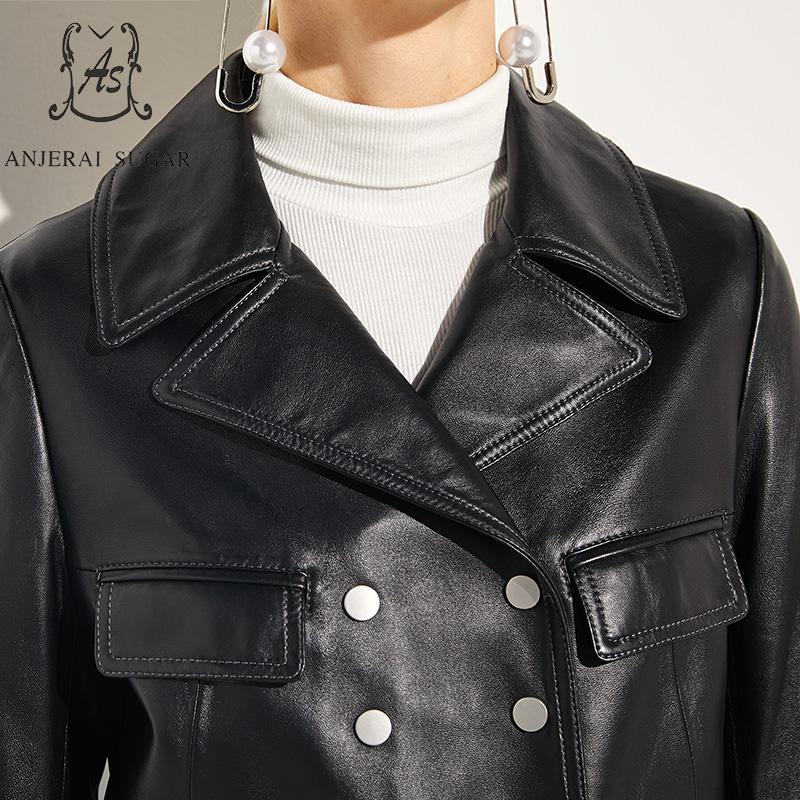 Réel Veste Jaqueta Automne Véritable Feminina En Casual Couro Mouton Breasted Cuir Femmes Moto Peau Manteaux Double De Noir qwp6OqY