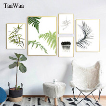 Minimalist Black and White Green Plant Leaves Canvas Painting Nordic Modern Posters Prints Wall Art Picture Home Decoration