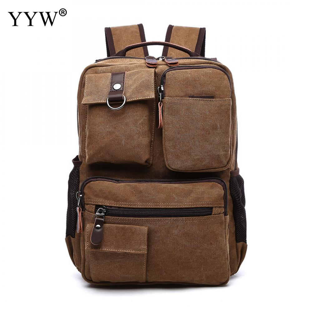 Yyw Canvas Laptop Backpack Men Fashion Waterproof Rucksack School Travel Bag Male Backpack Mochila Masculina Anti Theft Bag Sac