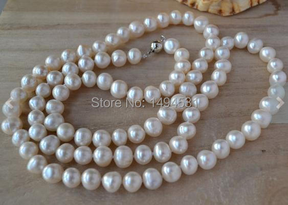 Wholesale Pearl Jewelry - White Color 9-10mm 34 Inches Long Genuine Freshwater Pearl Necklace - Handmade Jewelry.Free Shipping