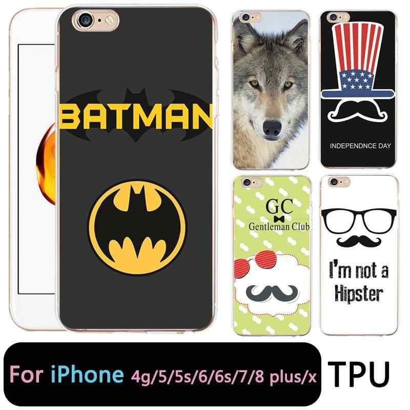 QMSWEI TPU przezroczysty futerał na telefon dla iPhone 6G 6 s 7 8 plus x miękka wilk Batman flaga silikonowe pokrywa ochronna dla iPhone 4 5se 6 Plus 7 P