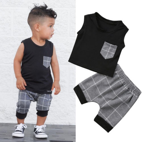 Summer Casual Newborn Infant Baby Boy Sleeveless Pocket Tops T-Shirt Harem Plaid Pants Outfits Clothes Set