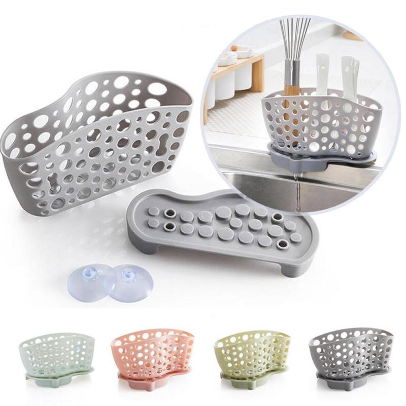Sucker sink drain and kitchen utensils rack shelving storage Bag hanging basket Base Drain Rack Bathroom Sucker Type Collection3