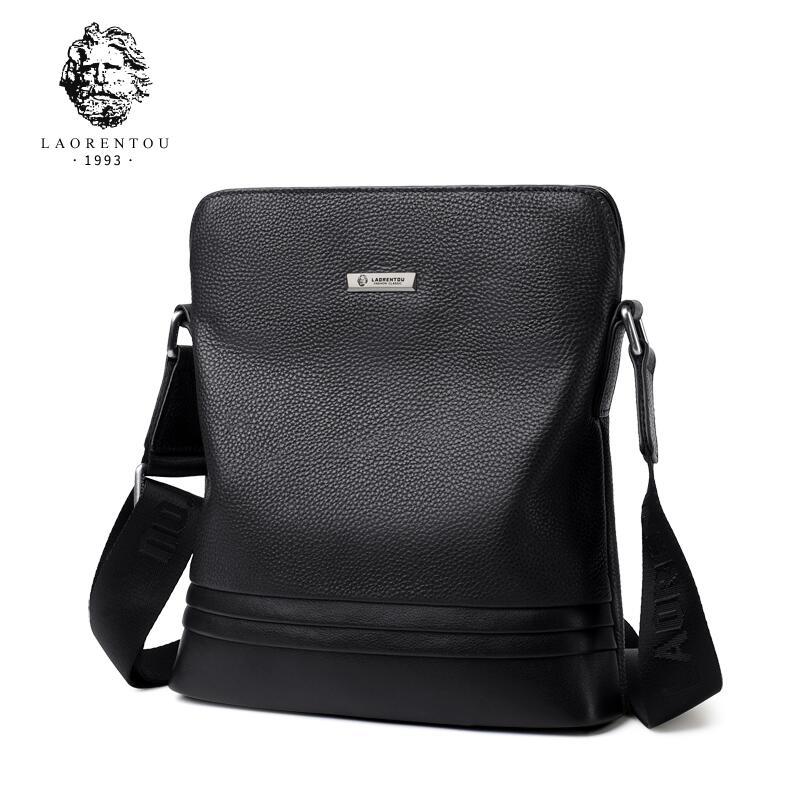 LAORENTOU2018 High-Quality Fashionable Luxury Shoulder Bag Men's Bag Leather Messenger Bag Cowhide Bag Business Briefcase oiwas fashionable polyester cover opening square messenger bag black