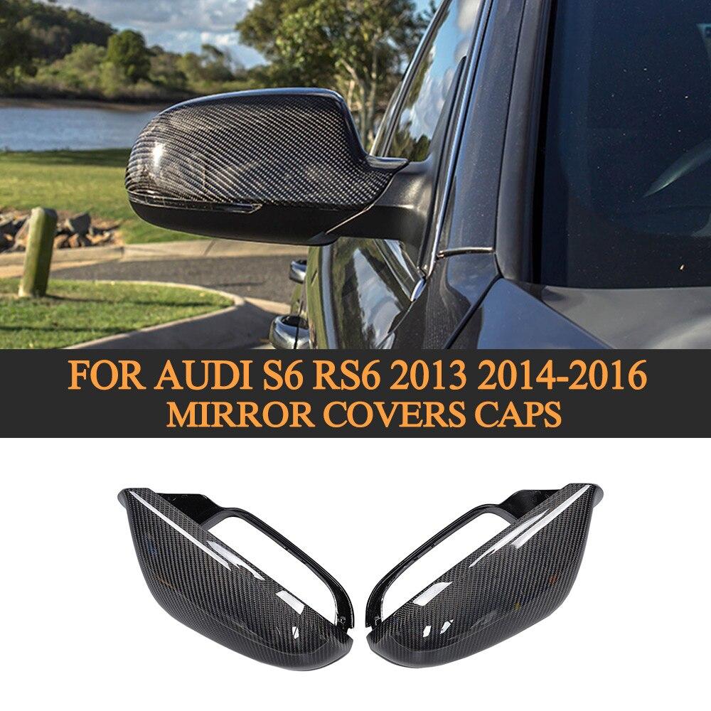 Fibre de carbone remplacement complet style côté rétroviseur arrière couvre capuchons pour Audi S6 RS6 2013 2014 2015 2016