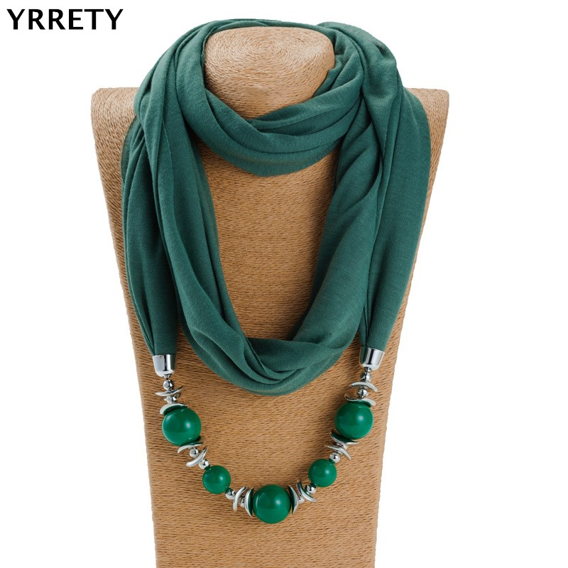 YRRETY 2018 Autumn Winter New Geometric Beads Necklaces Vintage   Scarf     Wrap   Statement   Scarf   Necklace For Women Bohemian Jewelry