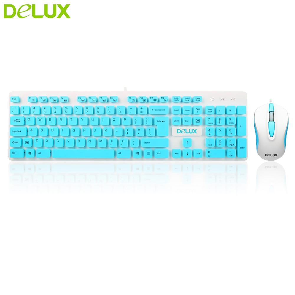 Delux USB Wired Multi Media Ergonomic Keyboard Mouse cambo , KA150+ ...
