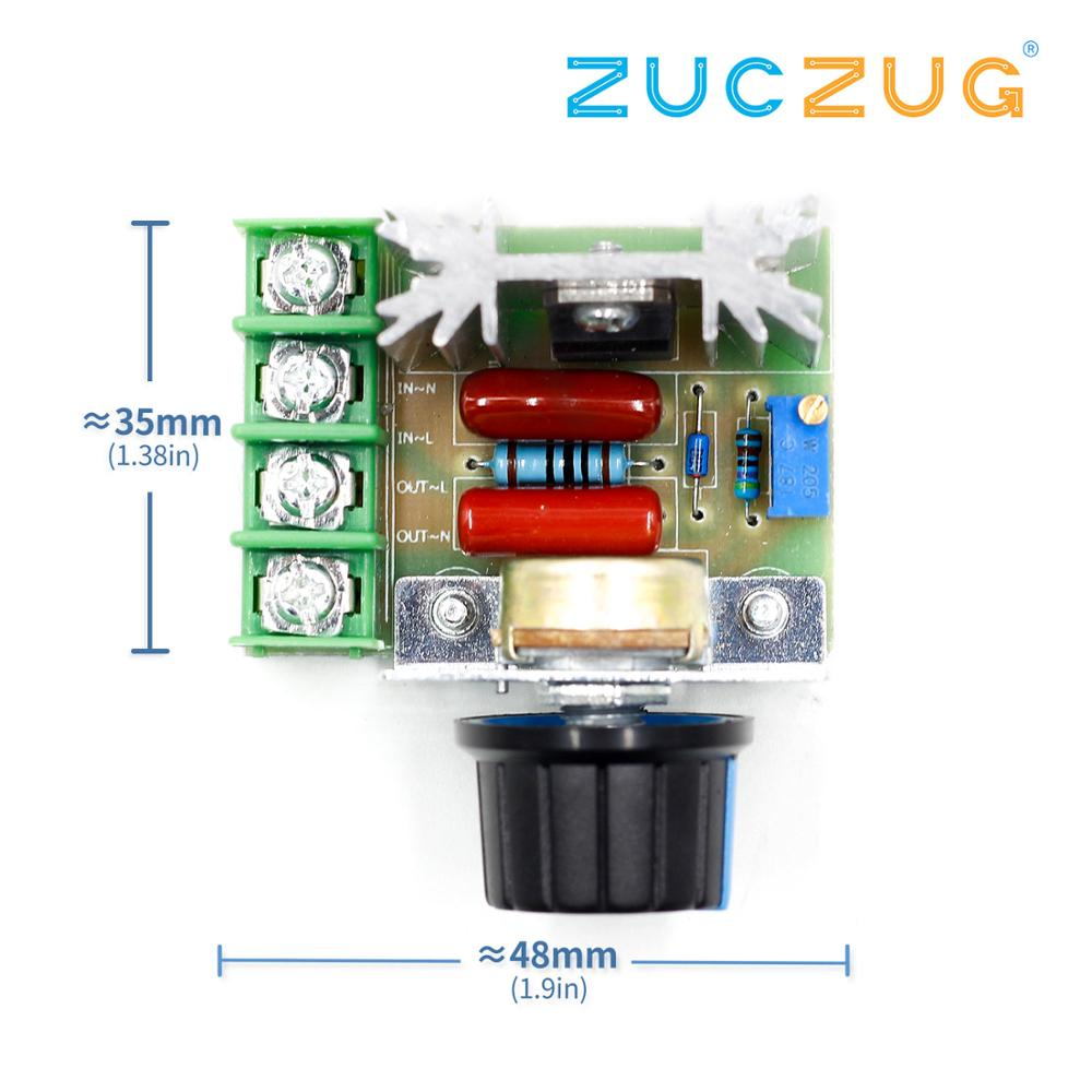 2000W Voltage Regulator AC 50-220V High Power Motor Speed Regulator Brushless Electronic Thyristor Dimmer Thermoregulation