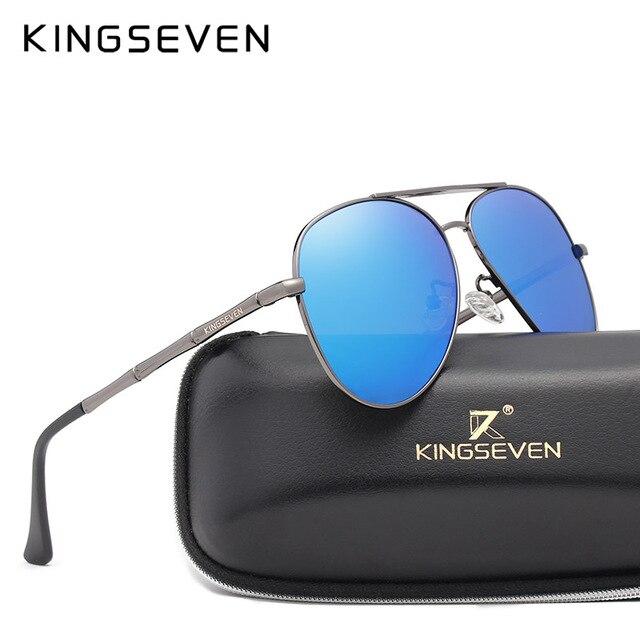 KINGSEVEN 2018 Marque Nouvelles lunettes de Soleil Polarisées Hommes Pilote  Conception Intervalle Argent Cadre Lunettes de c7cdfab0ff63